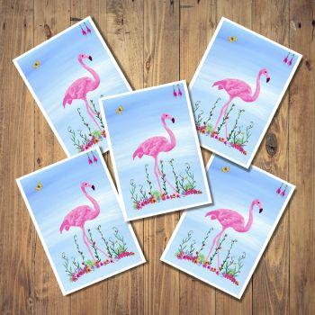 Pink Flamingo Set of 5 Notecards
