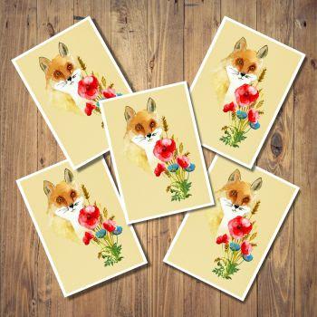 Fox & Poppies Set of 5 Notecards