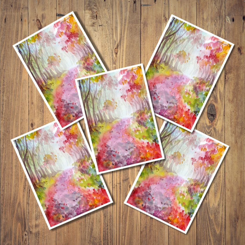 Watercolour Wood Set of 5 Notecards