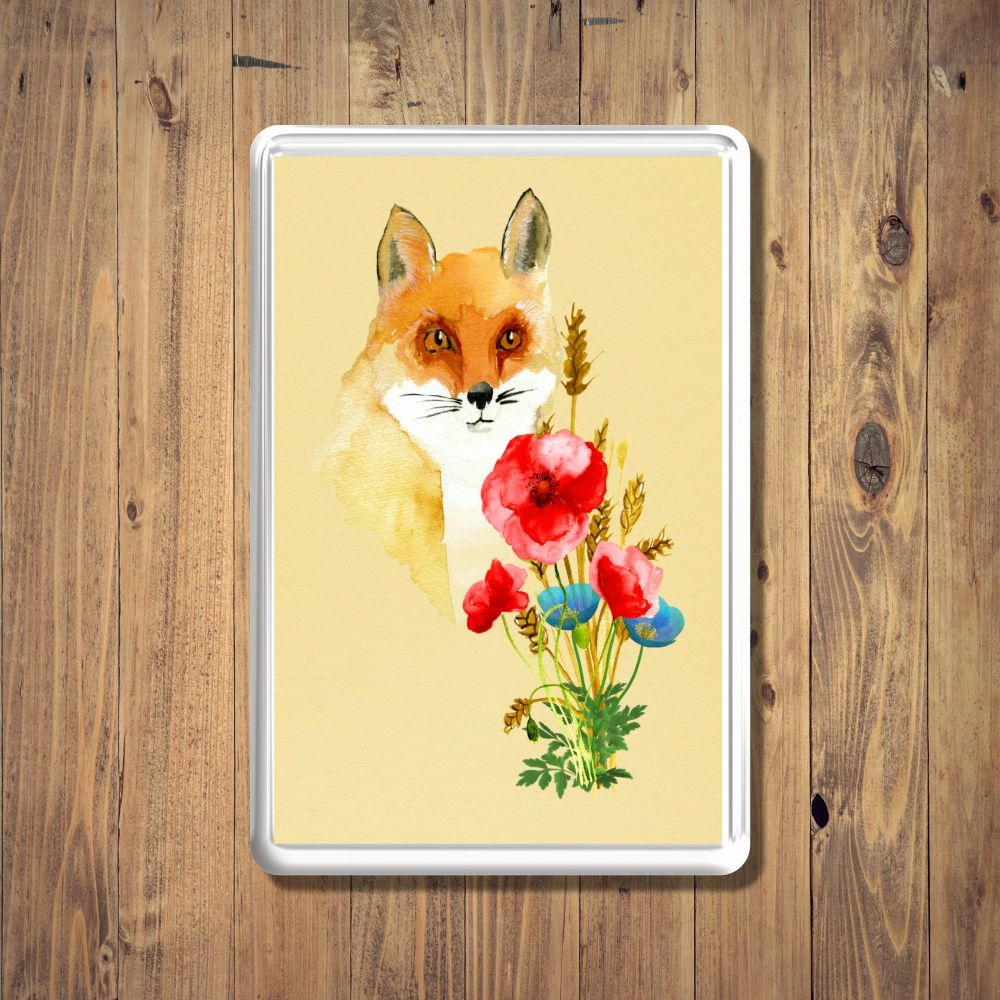 Fox & Poppies Fridge Magnet
