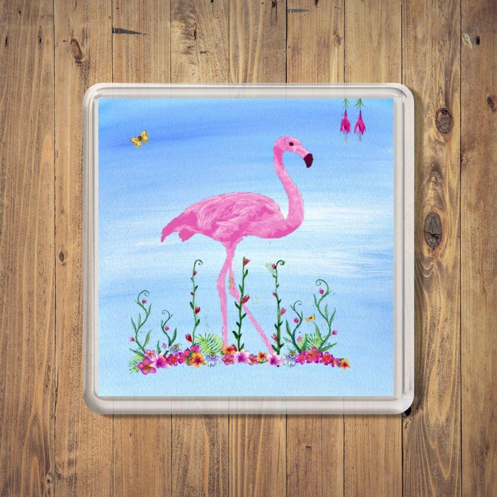 Tropical Flamingo Square Coaster