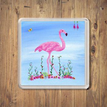 Tropical Pink Flamingo Square Coaster