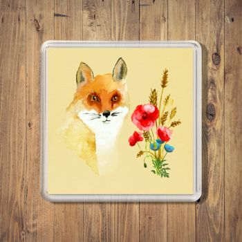 Fox & Wild Poppies Square Coaster