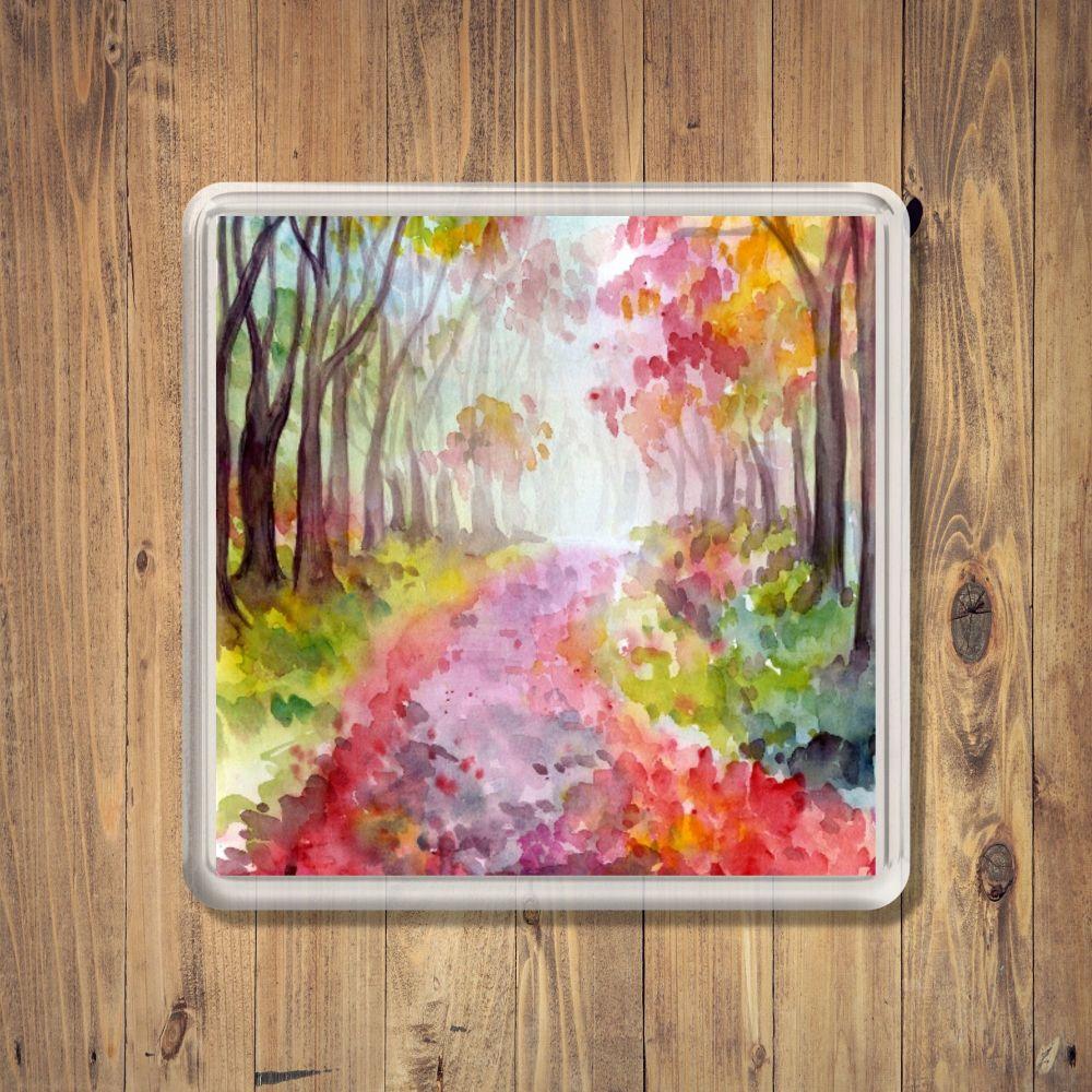 Watercolour Woodland Square Coaster