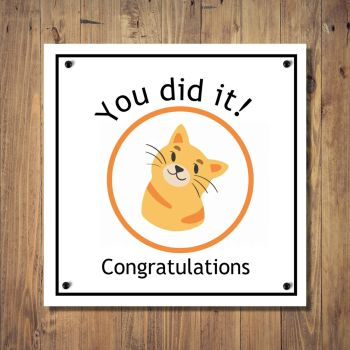 Cartoon Cat Congratulations Card