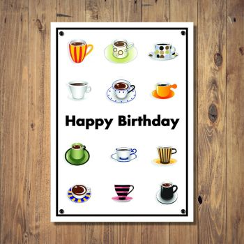 Colourful Cups & Mugs Birthday Card