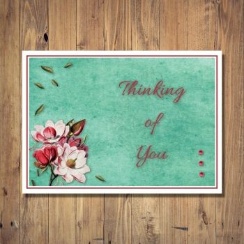 Floral Bunch Corner Thinking of You Card