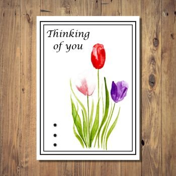 Watercolour Tulips Thinking of You Card