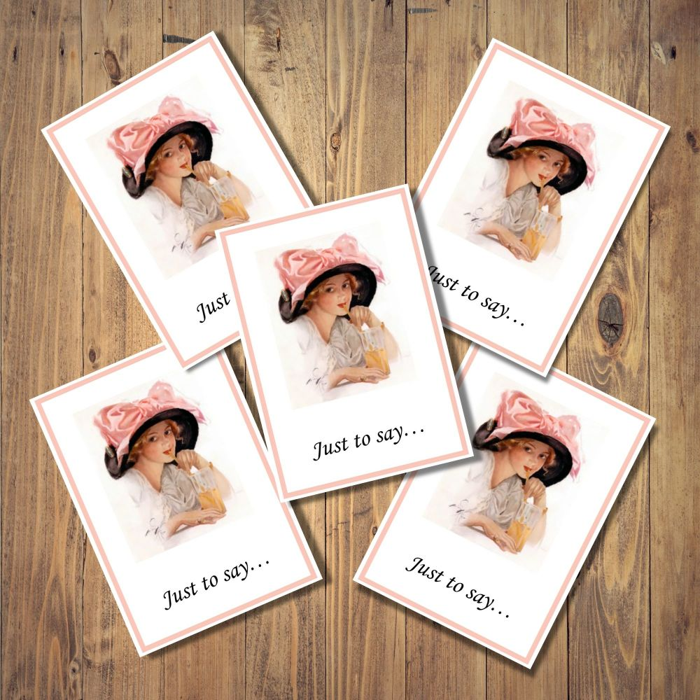 Harrison Fisher Lady Set of 5 Notecards