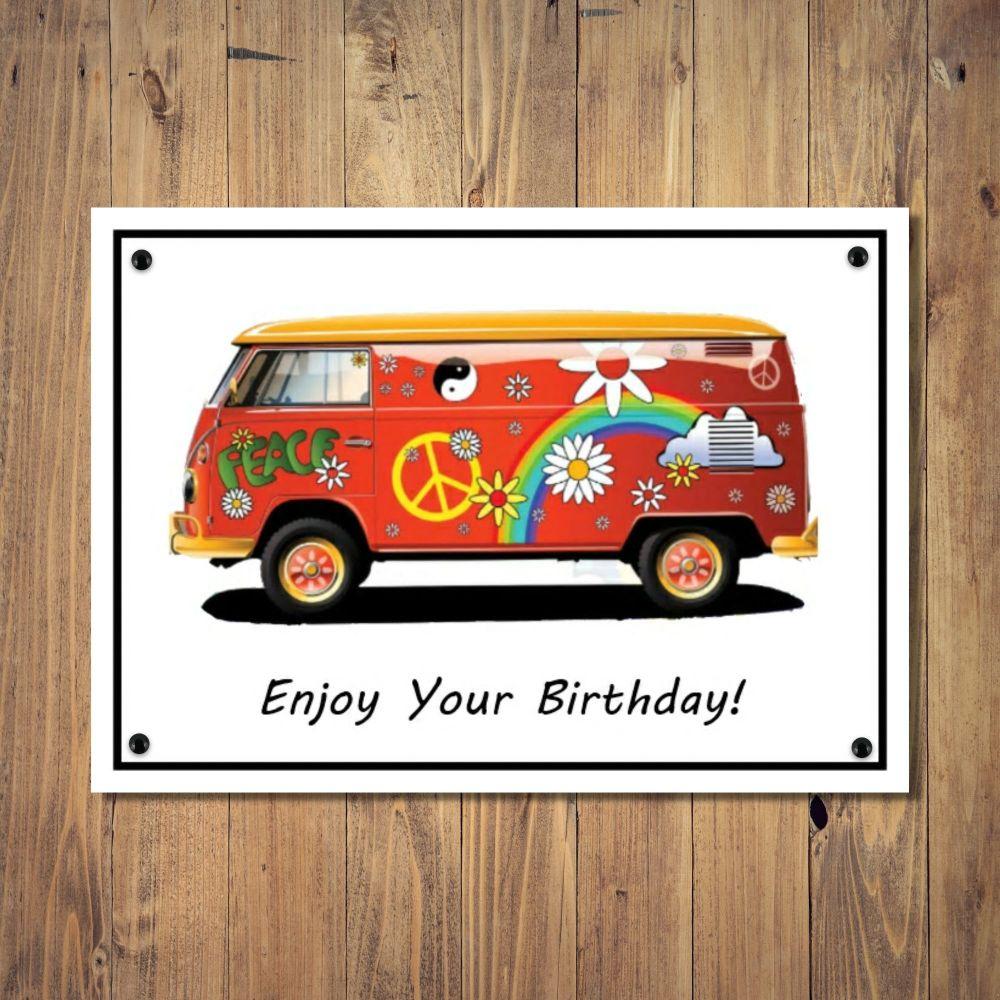 Retro Camper Van Birthday Card