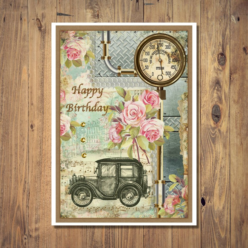 Vintage Car Design Birthday Card