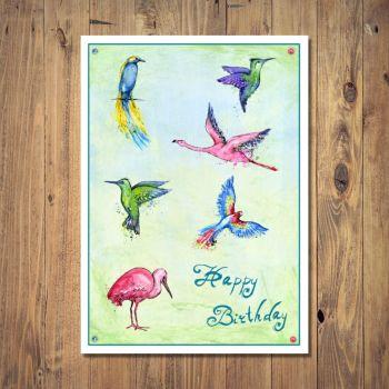 Tropical Paradise Birds Birthday Card