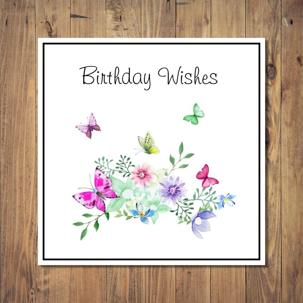 Pretty Butterflies & Flowers Birthday Card