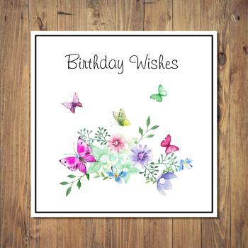 Butterflies & Flowers Birthday Card
