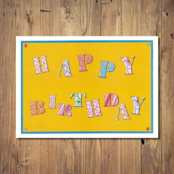 Funky Letters Design Birthday Card