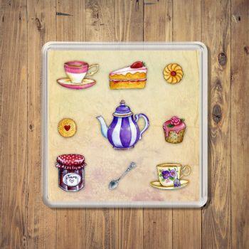 Tasty Tea Room Treats Square Coaster