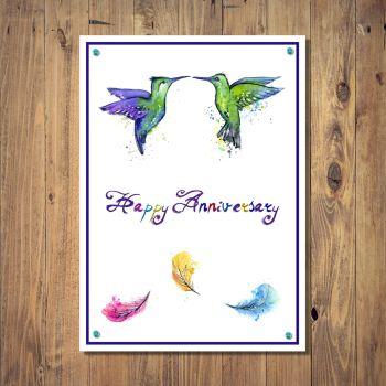 Tropical Paradise Birds Anniversary Card