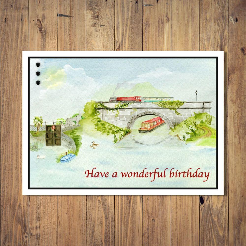 Riverside Scene Birthday Card