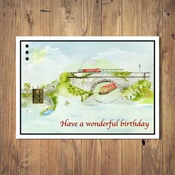 Riverside Watercolour Birthday Card