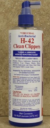 Clipper Blades - H-42 VIRUCIDAL ANTI-BACTERIAL CLEAN CLIPPERS 16 OZ PUMP SP