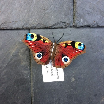 Steel peacock butterfly sculpture