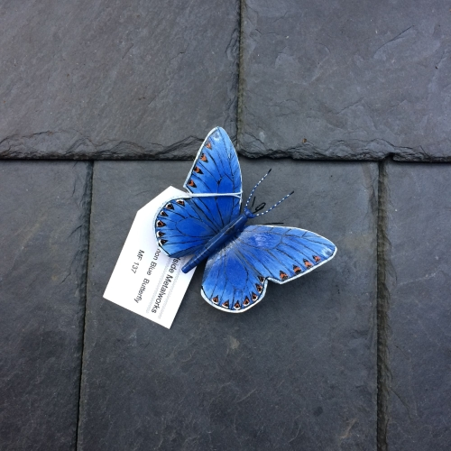 Painted steel common blue butterfly