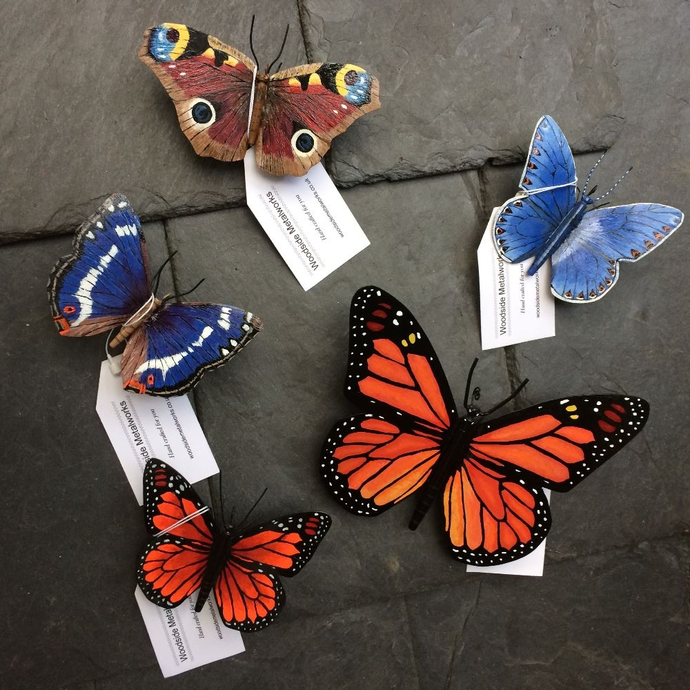 Metal butterfly sculptures