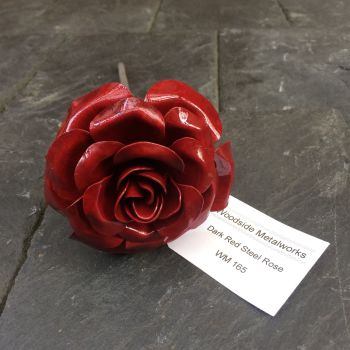 Dark red rose made from steel