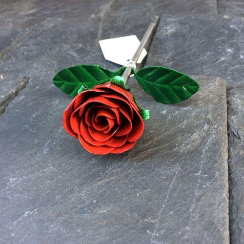 Steel red rose