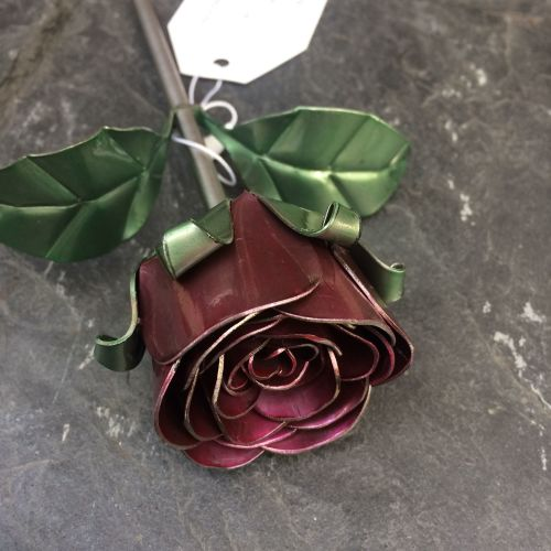 Metal rose flower with a hint of red