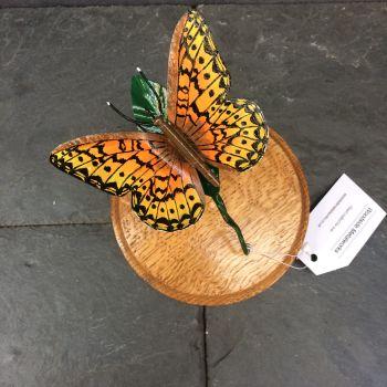 Green fritillary butterfly sculpture