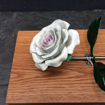 Wall hanging white steel rose, rose wall sculpture