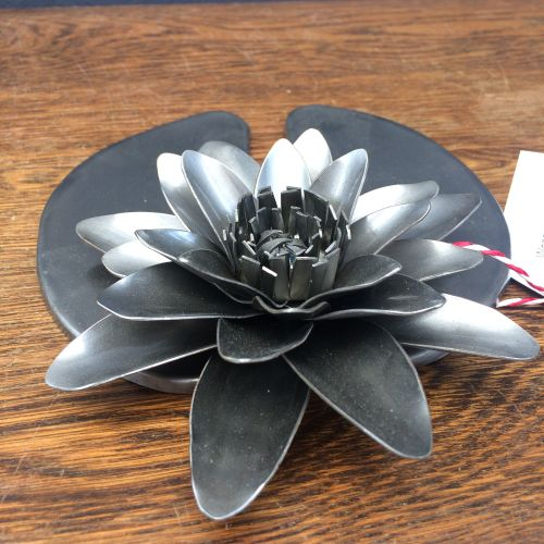 Steel water lily on a leaf