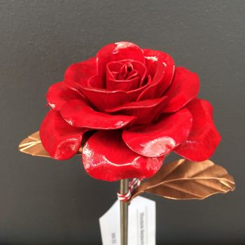Ruby steel rose with copper leaves