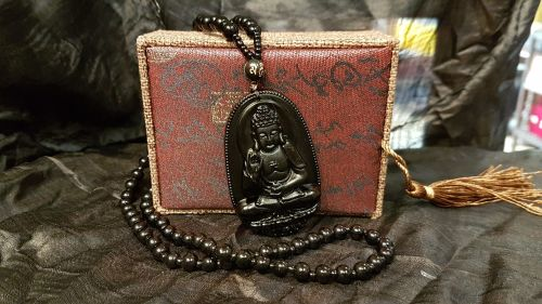 Obsidian Carved Buddha Pendant & Beaded Necklace
