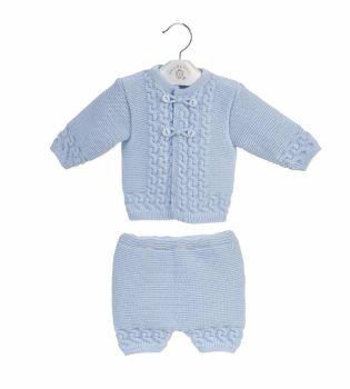 Arlo Knitted Jacket & Shorts Set - Sky
