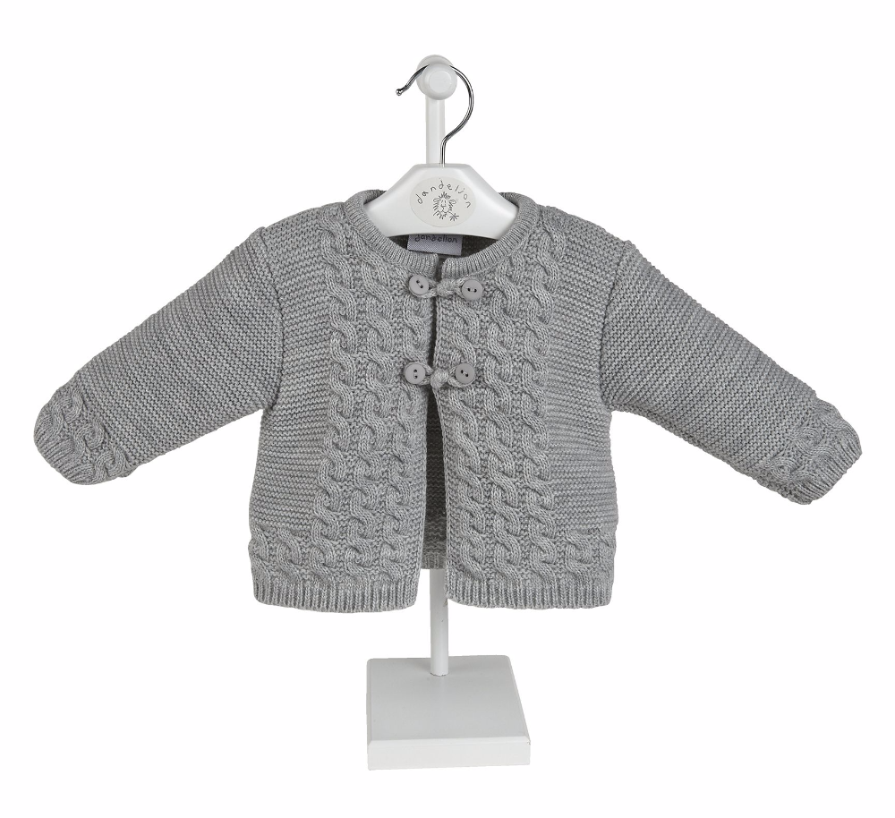 Arlo Knitted Jacket & Shorts Set - Grey