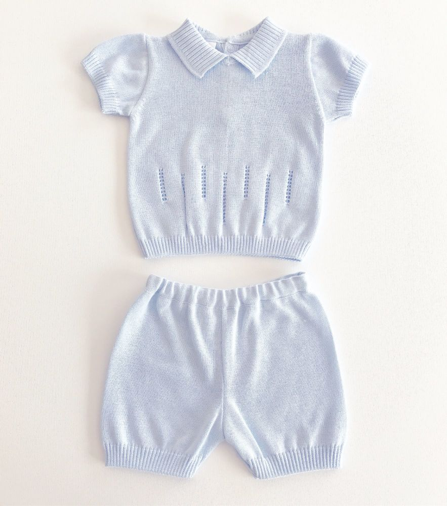 Knitted Shorts Set - Blue