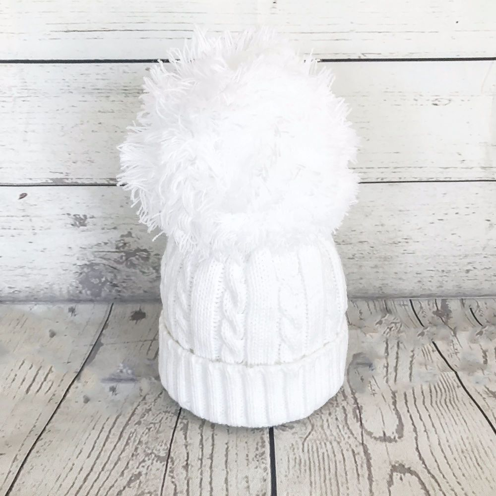 Large Cable Knit Pom Pom Hat - White