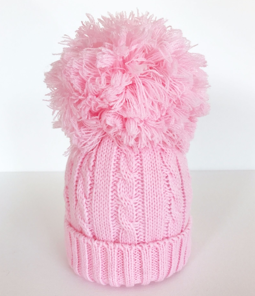 Large Cable Knit Pom Pom Hat - Pink