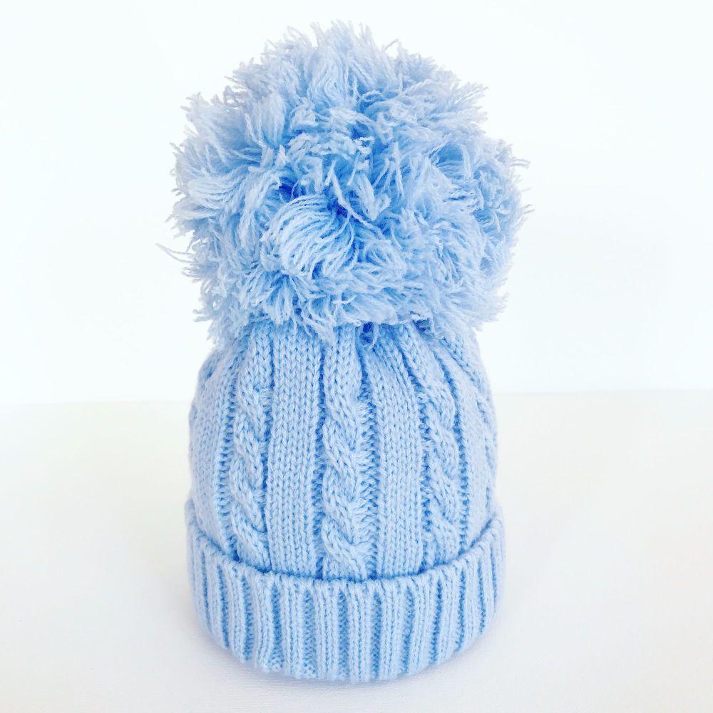 Large Cable Knit Pom Pom Hat - Blue