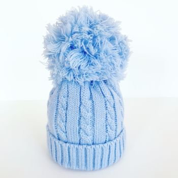 Large Cable Knit Pom Pom Hat - Blue