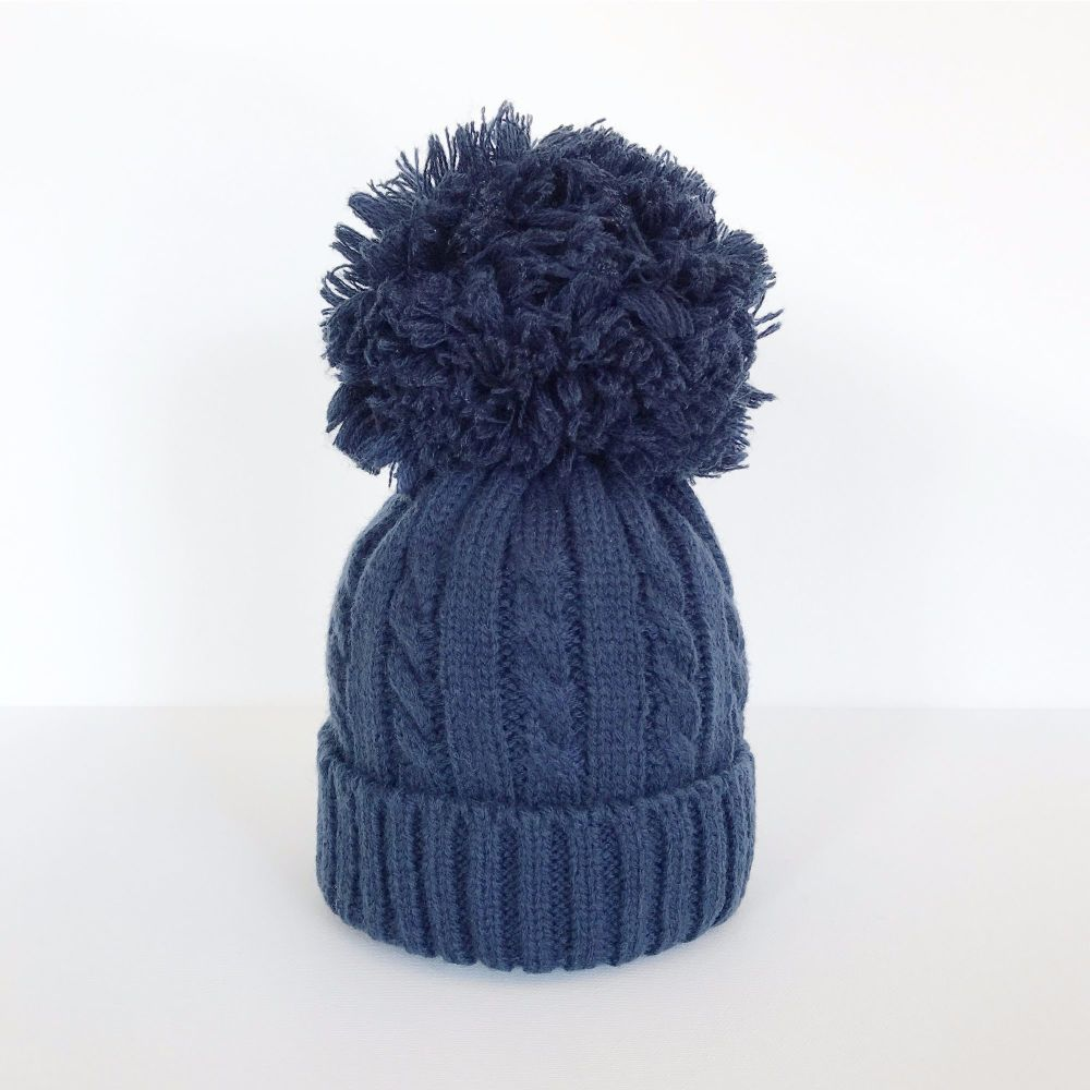 Large Cable Knit Pom Pom Hat - Navy 7bf9da60130a