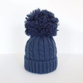 Large Cable Knit Pom Pom Hat - Navy