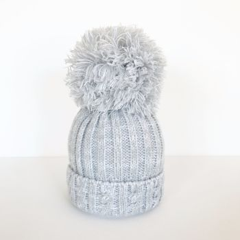 Large Pom Pom Hat - Grey