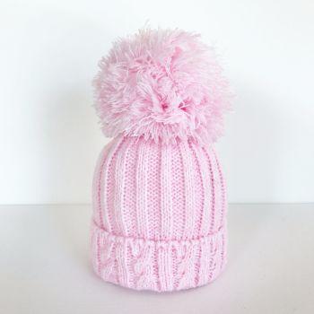 Large Pom Pom Hat - Pink
