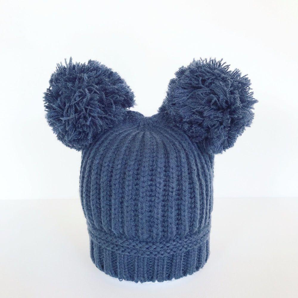 Double Pom Pom Hat - Navy
