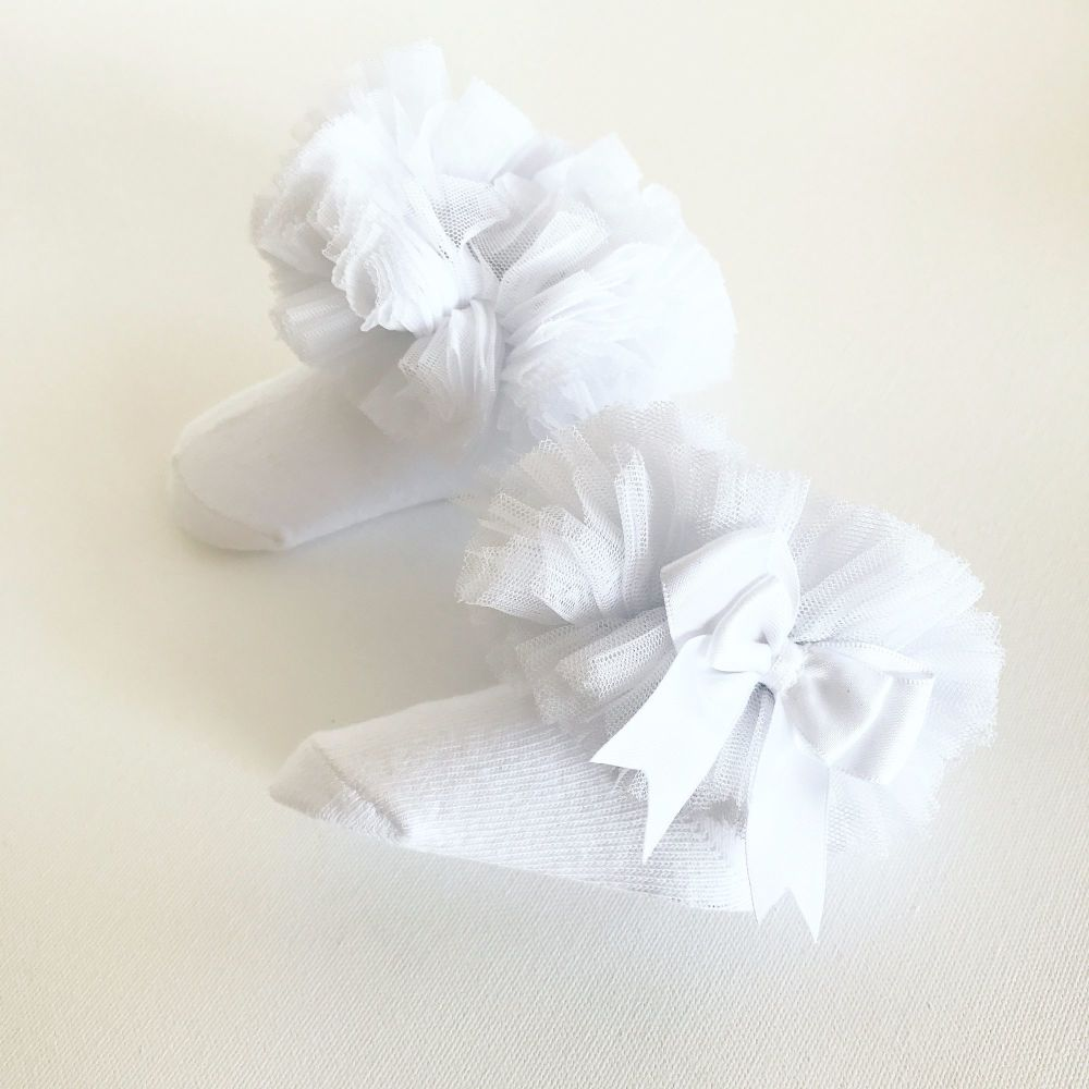 Tutu Sock With Bow - White