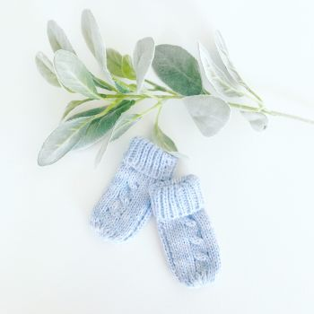 Cable Knit Mittens - Blue
