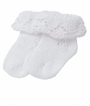 Handmade Pure Cotton Baby Socks - White